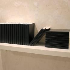 Lexikon, Ikea. 24 livres en plâtre, peinture, étagère Ikea, 110x30x28cm