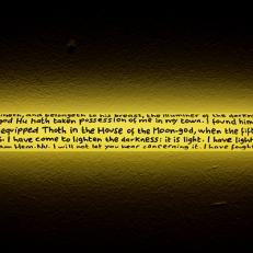 The Lightener, Guiza (détail). Texte manuscrit sur néon, 90x5cm