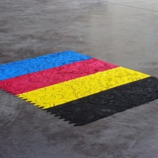 Brise-vue (CMJN) Tissu brise-vue, peinture 69x52cm