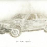 Mercedes smoke, cigarette ash on paper, 29,7x21cm
