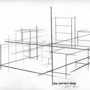 The pervert desk, pencil and vinyl letters on paper, 29,7x21cm
