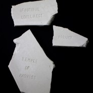 Untitled, text on plaster fragments, variable dimensions