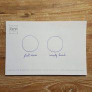 Full moon/Hempty head, pencil on hotel note paper, 10x7cm