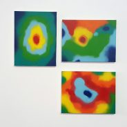 Thermal paintings 01,02,03, spray on canvas, 30x20cm each