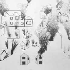 Houses in fire, pencil and ink on paper, 50x40cm