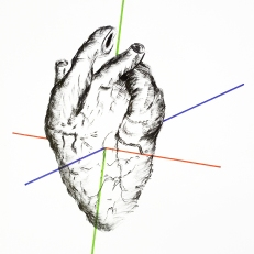 Heart, ink and marker pen on paper, 21x29,7cm