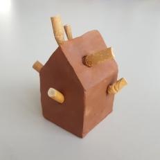 Ashtray, clay and cigarettes, 6x6x6cm